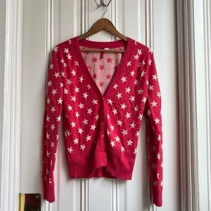 Red Star Print Button Down Cardigan Sweater